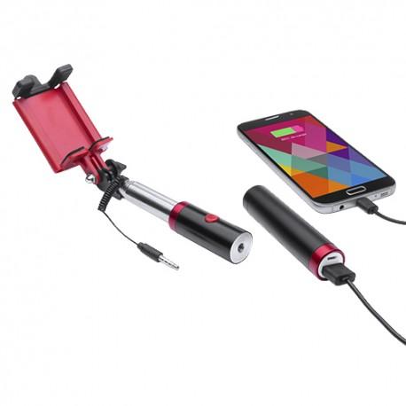 Gadżety dla morsa z logo firmy selfie stick z powerbankiem